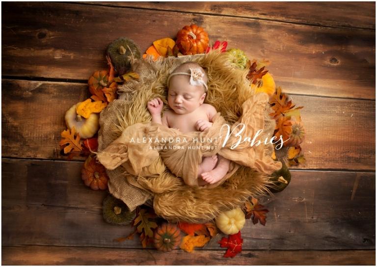 fall newborn baby pumpkin thanksgiving