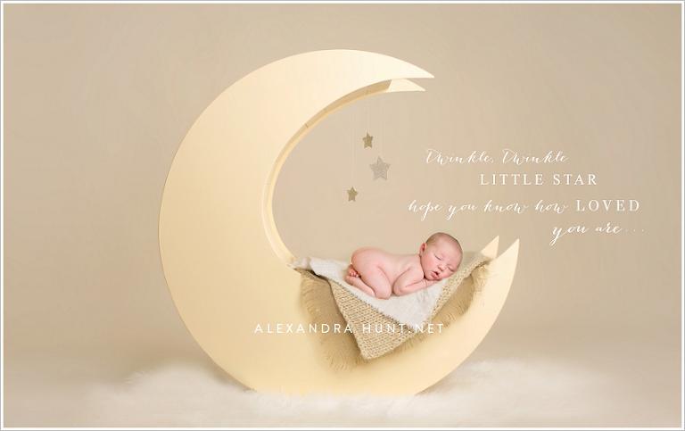 langley studio newborn prop photography, best newborn, moon prop, Alexandra Hunt Photography