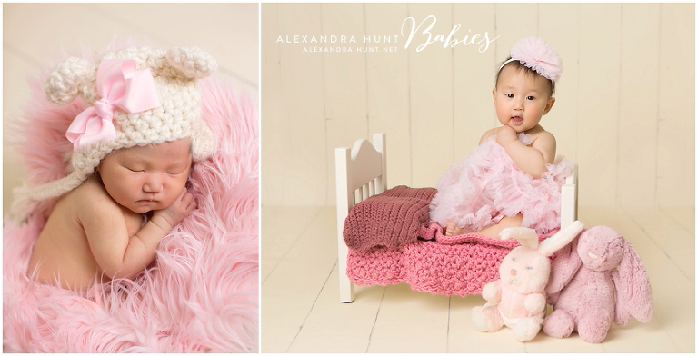 Say hello again to Madeleine....she's six months old! She's pretty in pink on our newest prop - a darling little bed for newborns or older babies! ♥