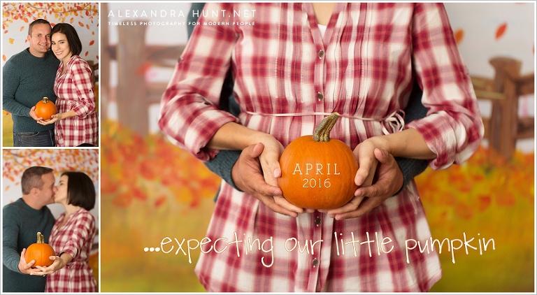 fall pregnancy announcement with pumpkin, reveal, Alexandra Hunt Photography, Halloween, maternity, newborn photography