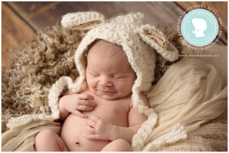 Alexandra Hunt Photography, best langley newborn photography, studio photographer, baby girl, cow hat, frog hat, lamb hat, angel wings, newborn with parents, baby in basket, baby in bed