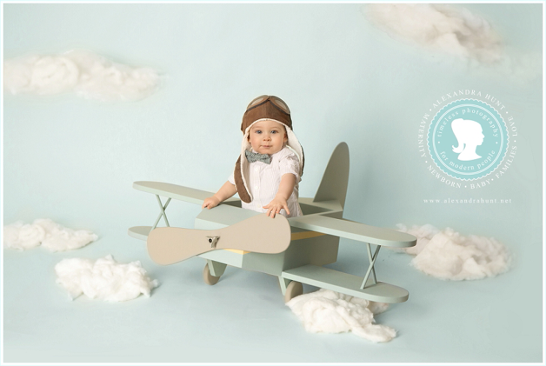 airplane baby aviator, best Langley baby photographer, Alexandra Hunt photography