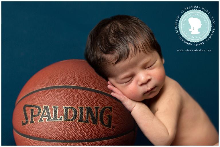 best Langley newborn photographer, Alexandra Hunt Photography, basketball baby