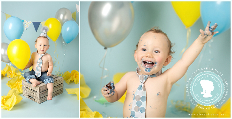 Langley first birthday baby cake smash photographer