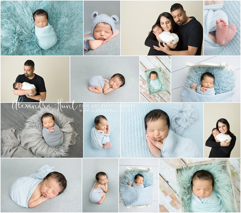 Baby Ayden's session was full of soft baby blues and grey tones, to match his nursery. His adorable newborn portraits will look perfect on those walls!