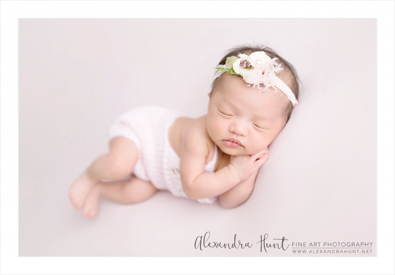 phillipino newborn baby girl light pink flower headband